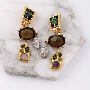 NWOT Anthro Alexis Bittar Crystal Earrings Clip on
